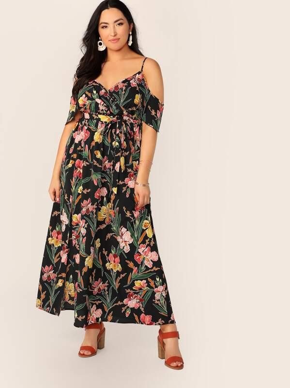 9b054f220b Plus Cold Sleeve Botanical Print Belted Split Dress | SHEIN