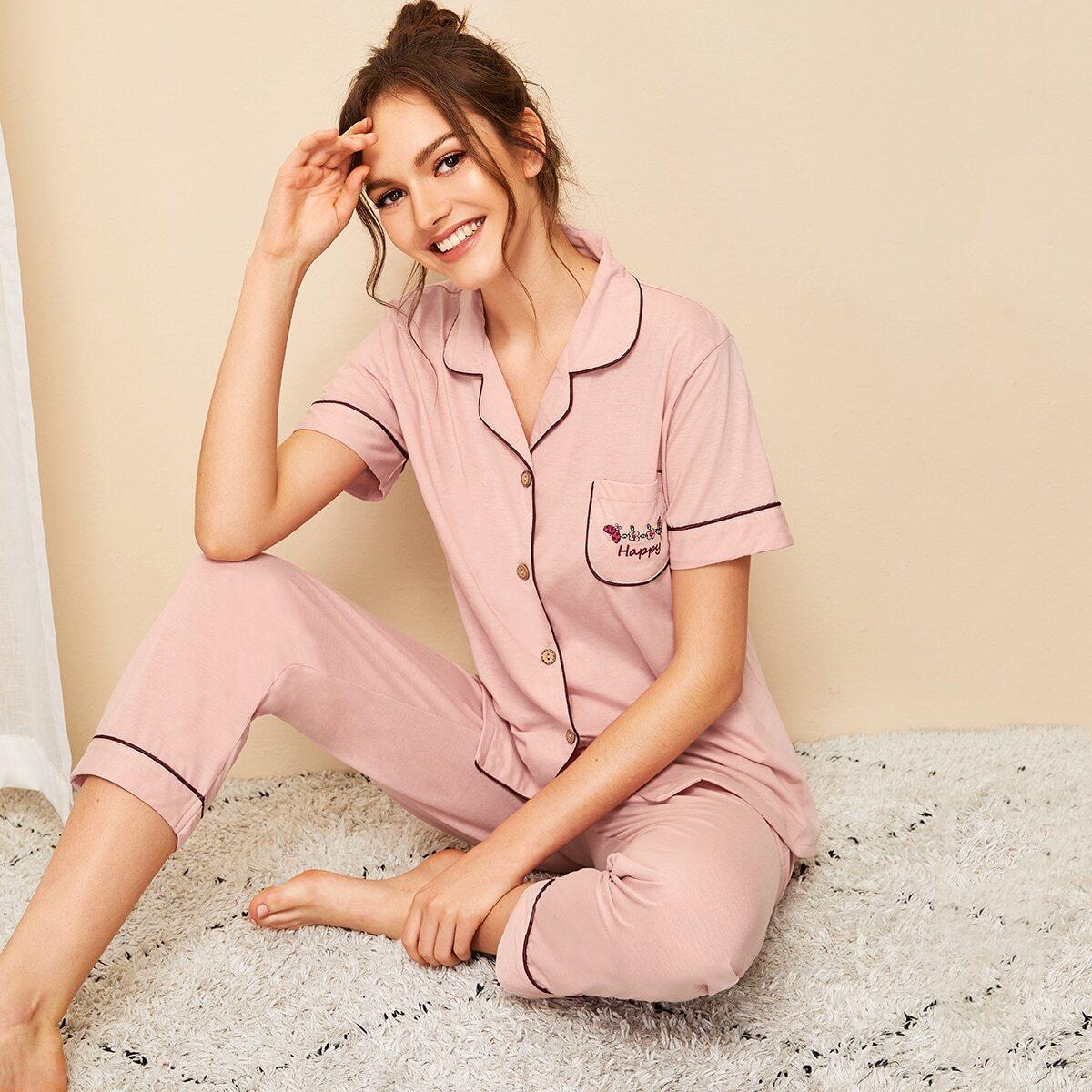 Пижама с пуговицами, вышивкой и цветочным принтом от SHEIN
