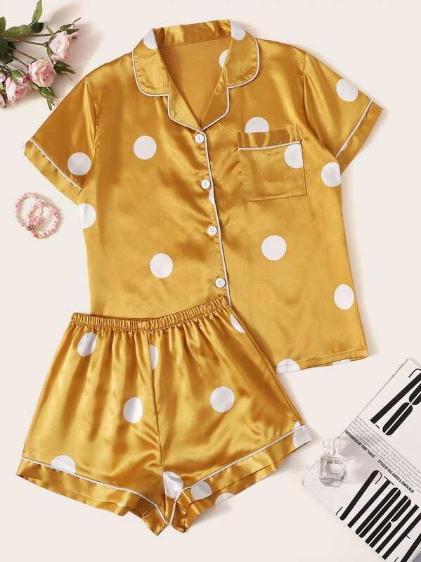 2954fa309e Polka Dot Satin Pajama Set | SHEIN