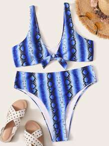 Plus Snakeskin Knot Front Top With High Cut Bikini Set