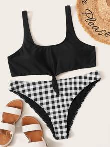 Plus Tie Front Top With Gingham Bikini Set