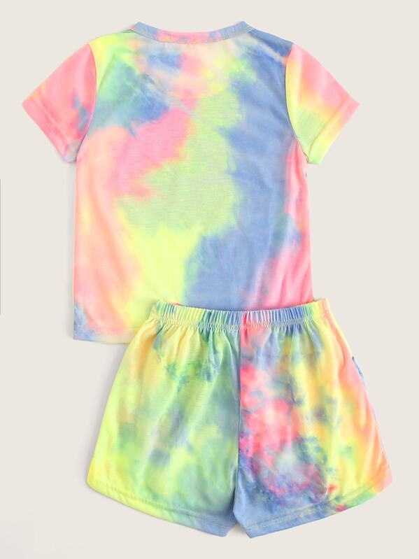 d7ee9f5dce7 Toddler Girls Tie Dye Tee & Shorts Set | SHEIN