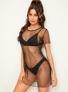 e3747b8b3f Star Mesh Cover Up Top Without Swimwear | SHEIN