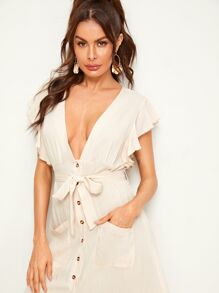 Plunging Ruffle Trim Button Front Belted Shirt Dress