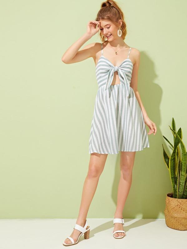 c35982e55a Tie Front Peekaboo Striped Shirred Cami Dress | SHEIN
