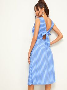 Tie Back Striped Sleeveless Tea Dress
