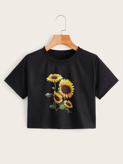 6b134ef8c9b Sunflower Print Crop Tee