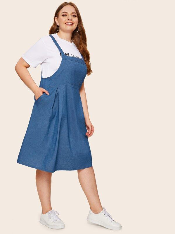 Plus Pocket Side Denim Pinafore Dress