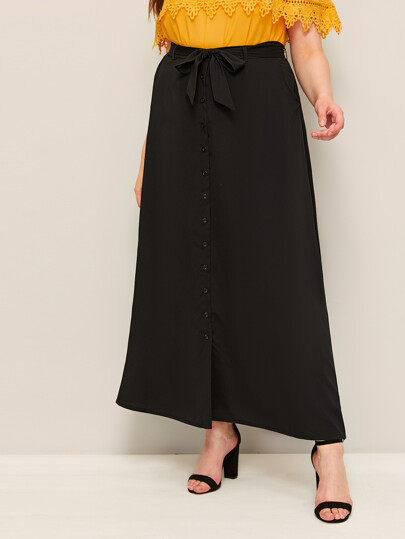 Plus Button Through Belted Maxi Skirt