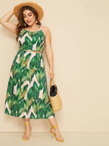 Plus Tropical Print Tie Back Halter Top With Skirt
