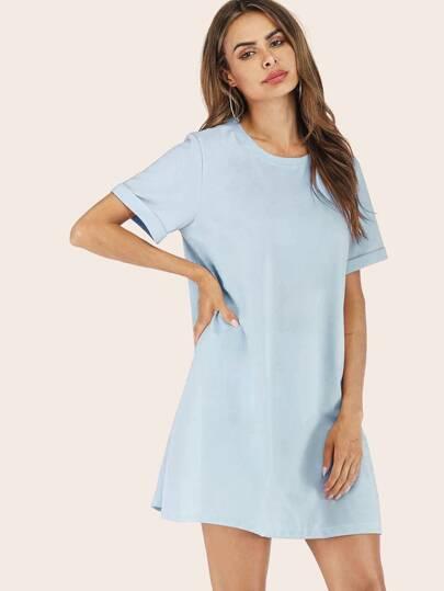 e22d1ae44 Vestido estilo camiseta de puño de doblez sólido