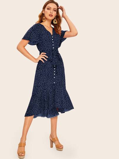 adba37101d95 Ruffle Hem Polka Dot Belted Tea Dress
