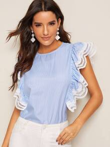Striped Print Eyelet Embroidered Hem Blouse