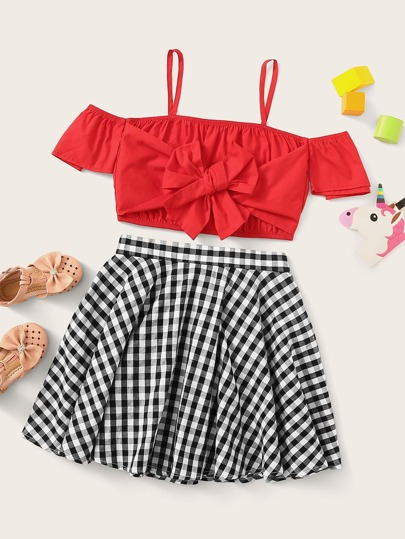 a7c948633b Girls Tie Front Cold Shoulder Top & Gingham Skirt Set