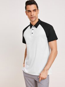 Men Raglan Sleeve Polo Shirt