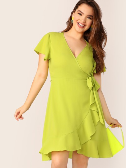 e938841bbb Plus Neon Lime Flutter Sleeve Tie Side Wrap Dress