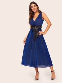 Surplice Self Belted Glitter Dress