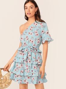 One Shoulder Ruffle Trim Floral Print Layered Hem Dress