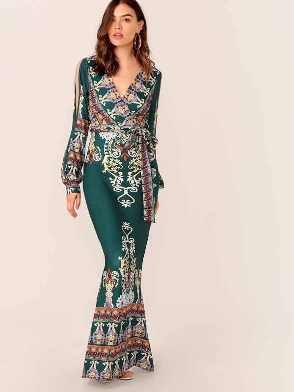 5cca61523c Tribal Print Split Sleeve Wrap Belted Fishtail Dress   SHEIN UK