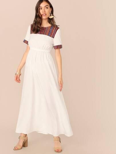 979e7742949d8 فستان بخصر مطاطي عالي وبطباعة بإدخال نقش