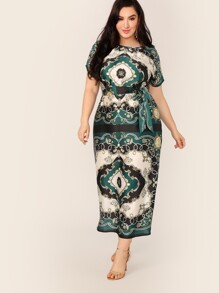Plus Scarf Print Self Belted Satin Dress