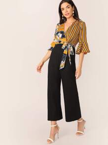 Striped and Floral Print Wide Leg Combo Jumpsuit