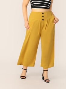 Plus Button Front Fold Pleated Wide Leg Pants