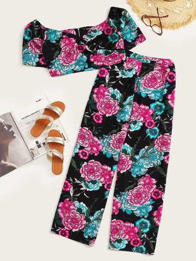 Plus Crop Zip Up Floral Print Top & Pants Set