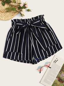 Plus Striped Frill Waist Shorts