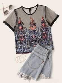 Paisley Embroidered Sheer Mesh Tee