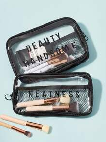 Letter Clear Cosmetic Storage Bag 2pcs