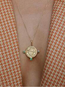 Round Pendant Chain Necklace 1pc