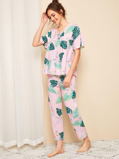 3402a6746 Tropical Print Knot Detail Pajama Set