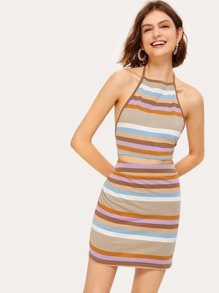 Striped Knot Back Halter Top With Skirt