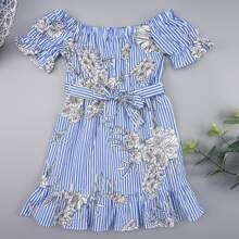 Toddler Girls Floral & Stripe Print Belted Peplum Dress