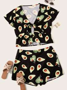 Plus Avocado Print Tie Front Blouse With Shorts