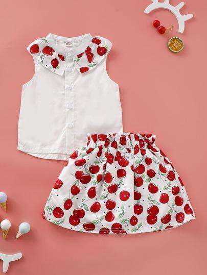 4f4912dfa Blusa irregular de niñitas con estampado de cereza con falda