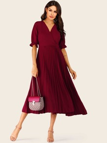 Surplice Front Pleated Hem Dress