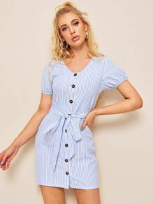 Self Tie Button Front Striped Tea Dress