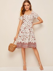 Ditsy Floral Print Swing Dress