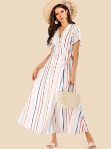 Striped Knot Side Wrap Dress