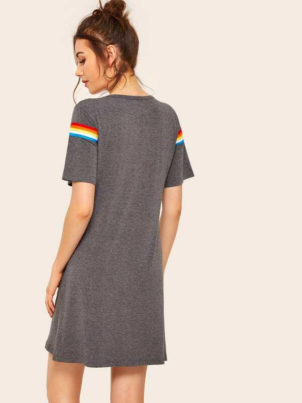 b8f10a20d200 Rainbow Striped Tape T-shirt Dress   SHEIN UK