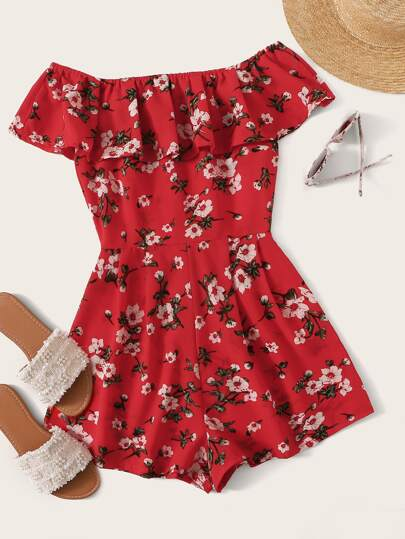 2019 Fashion Womens Off Shoulder Flare Sleeve Jumpsuit Romper Summer Beach Holiday Elegant Ruffle Bow-tie Short Playsuit Matching In Colour Suits & Sets