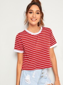 Contrast Binding Striped Tee