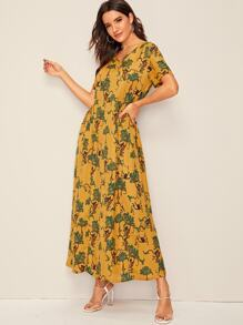 Pocket Detail Botanical Print Maxi Dress