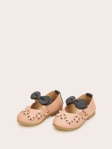 Baby Girls Hollow Out Bow Decor Flats