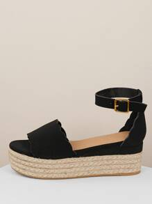 Scallop Open Toe Flatform Espadrille Wedge