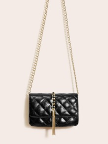 Metal Tassel Decor Quilted Chain Bag