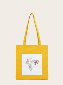 Cartoon Print Canvas Shopper Bag