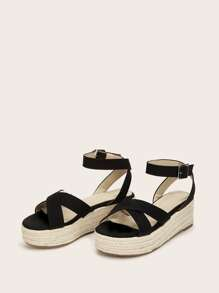 Cross Strap Ankle Strap Espadrille Wedges